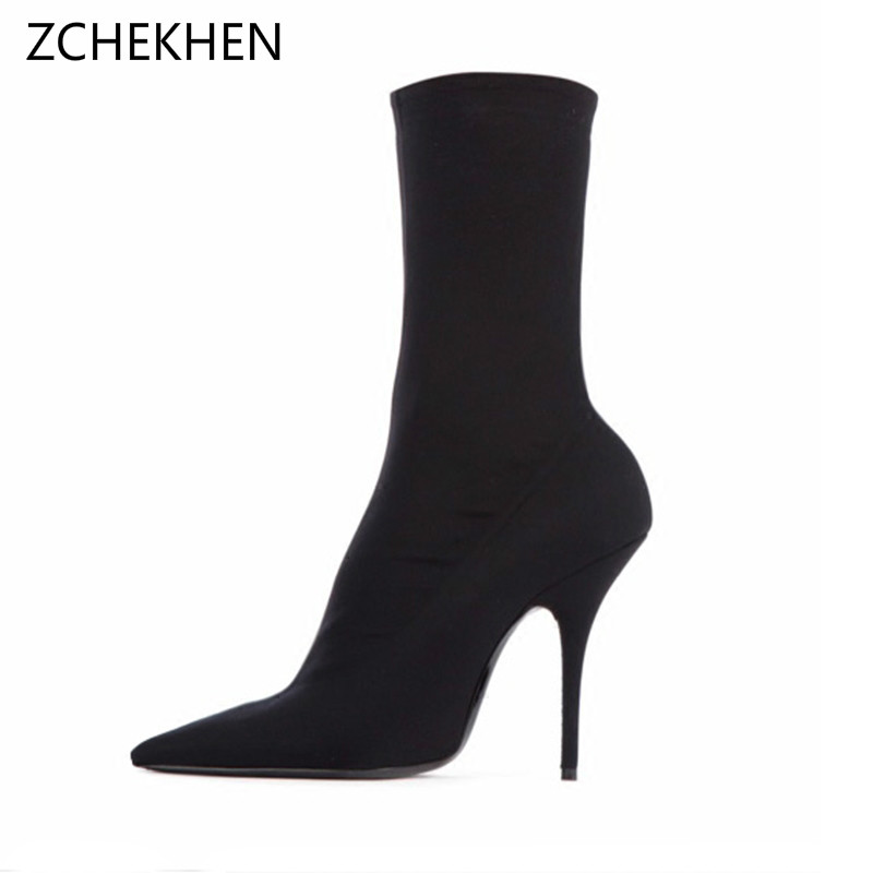 Fashion Kardashian Ankle Elastic Sock Boots Thin High Heels Stretch Women Autumn Sexy Booties Pointed Toe Women Pumps Botas arrylinfashion british fashion all match ankle boots top leather autumn botas femininas pointed toe charming thin high heels