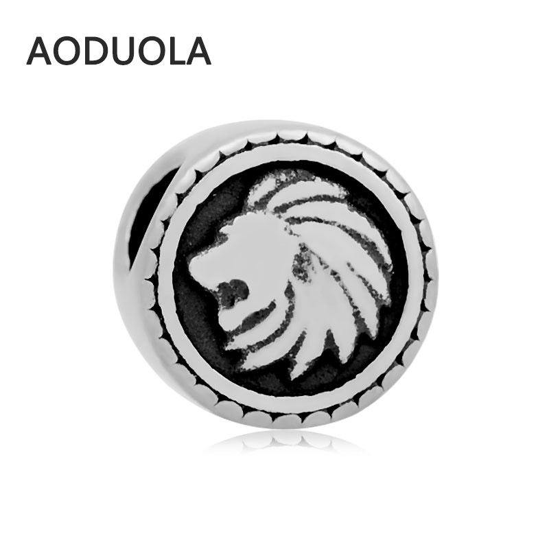 2Pcs Lot Stainless Steel Animal Lion Silver color Spacer Beads DIY Big Hole Bead for Jewelry Making Fit For Pandora Bracelet