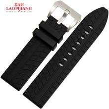Laopijiang venda de reloj de goma de silicona para hombre de la correa de ajuste Pang Dahai moda relojes accesorios 22 mm