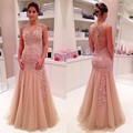 Sexy dusty blush prom 2016 backless applique beads evening formal dress vestido da ocasião especial vestidos de festa vestidos de 15