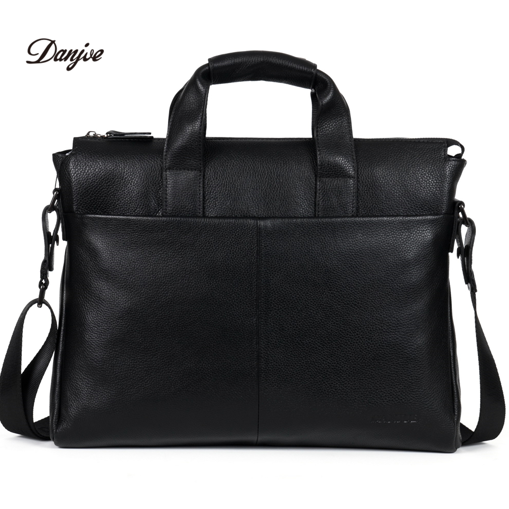 цены на DANJUE Genuine leather men briefcase brand high quality men's business handbags two color real leather soft men laptop bag