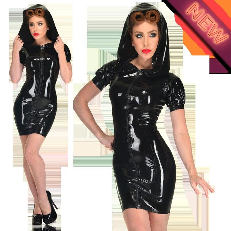 Hot femmes sexy en cuir robes noir à capuche décontracté Mini robe à glissière à manches courtes gothique Bondage fétiche danse vêtements streetwear