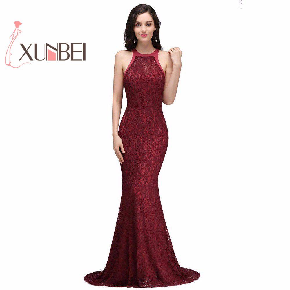 Vestidos festa Elegant Mermaid Burgundy Lace   Prom     Dresses   Long 2019 High Neck Party   Dress     Dress