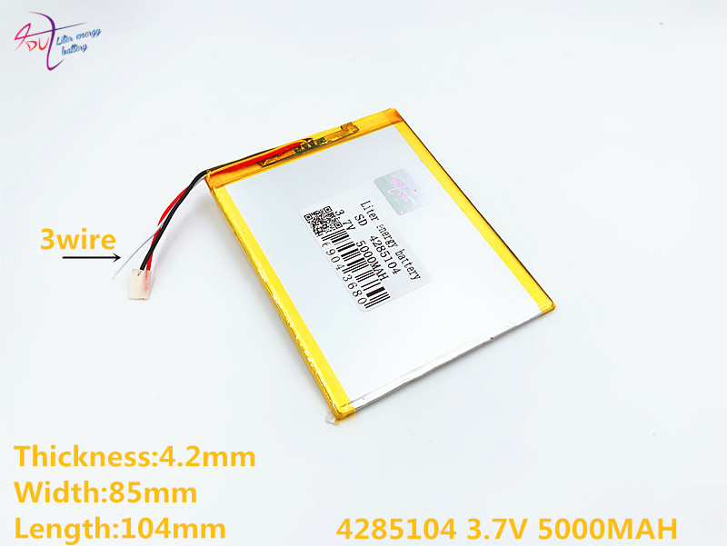 3 line Liter energy battery 4285104 3.7V 5000MAH 4085105 Lithium Tablet PC Battery with protection board Polymer battery