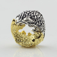 925 sterling silver jewelry bead Gold and silver fish beads Fit European Brand Bracelet DIY Jewelry For Beads jewelry making