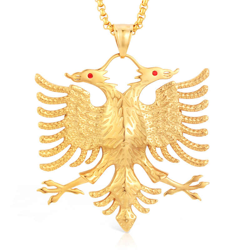 SOITIS Albania Flag Eagle Pendants Russian Emblem Necklace Coat of Arms Double Headed Eagle Stainless Steel Pendants Chain