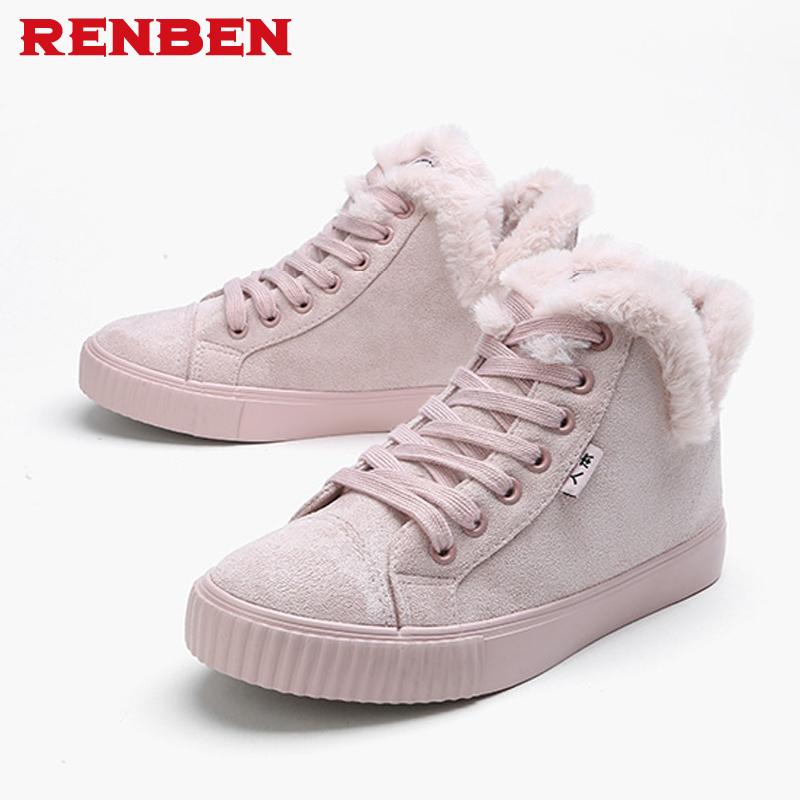 Chaud Black Troupeau mollet Chaussures Casual Mode slip Féminine beige Boule Femmes Bottes Neige D'hiver pink Mi Fourrure Non De rXwHqar