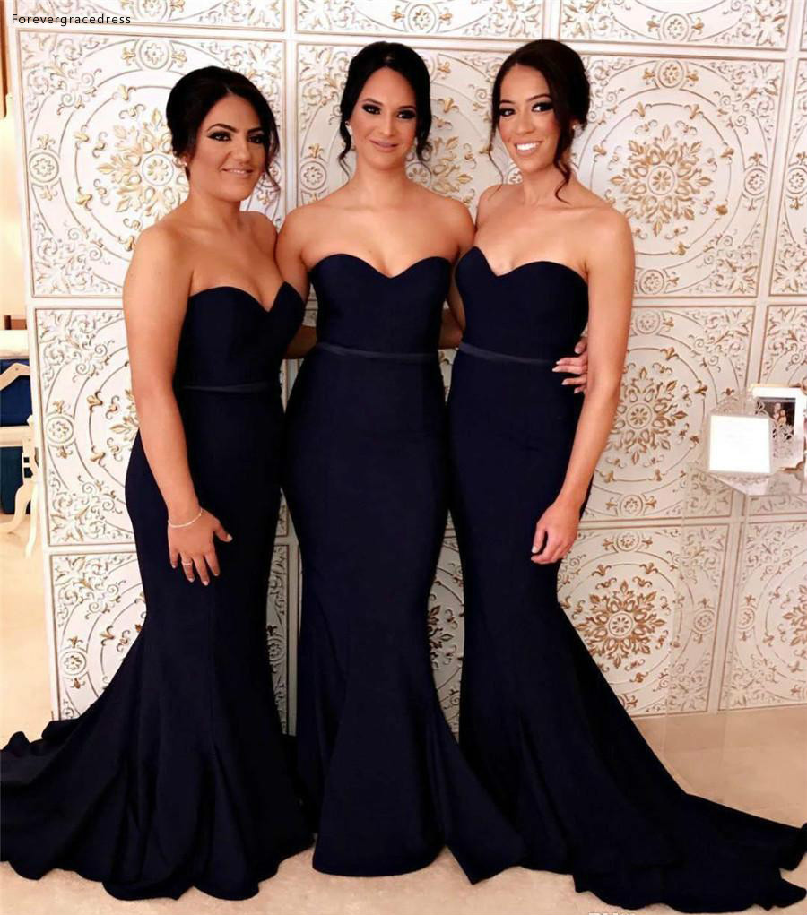 Mermaid Long Black   Bridesmaid     Dresses   2019 Simple Summer Country Garden Formal Wedding Party Guest Maid of Honor Gowns Plus Size