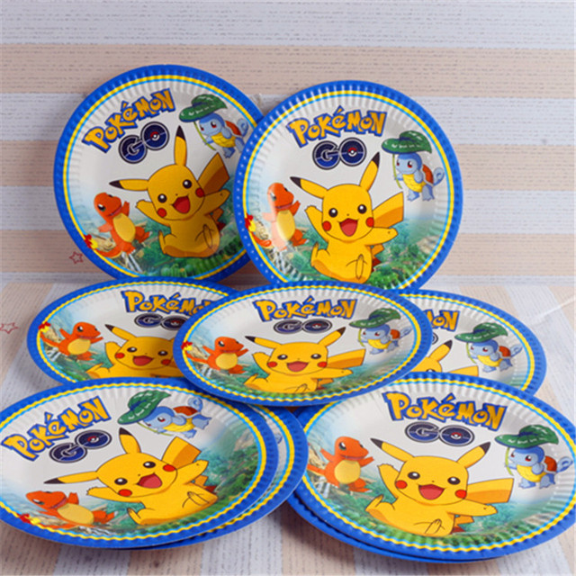 10pcs Pokemon go pikachu Disposable 7inch Paper Plate Kid Boy Birthday Party supplies Cartoon Theme Printing  sc 1 st  AliExpress.com : 7 inch paper plates - pezcame.com