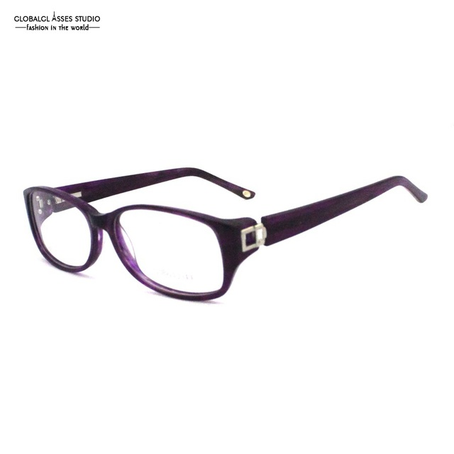 Unique Big Lens Acetate Eyeglasses Purple Metal Pile Head Flexible Spring Hinge Prescription Optical Glasses Frame 310BG32044