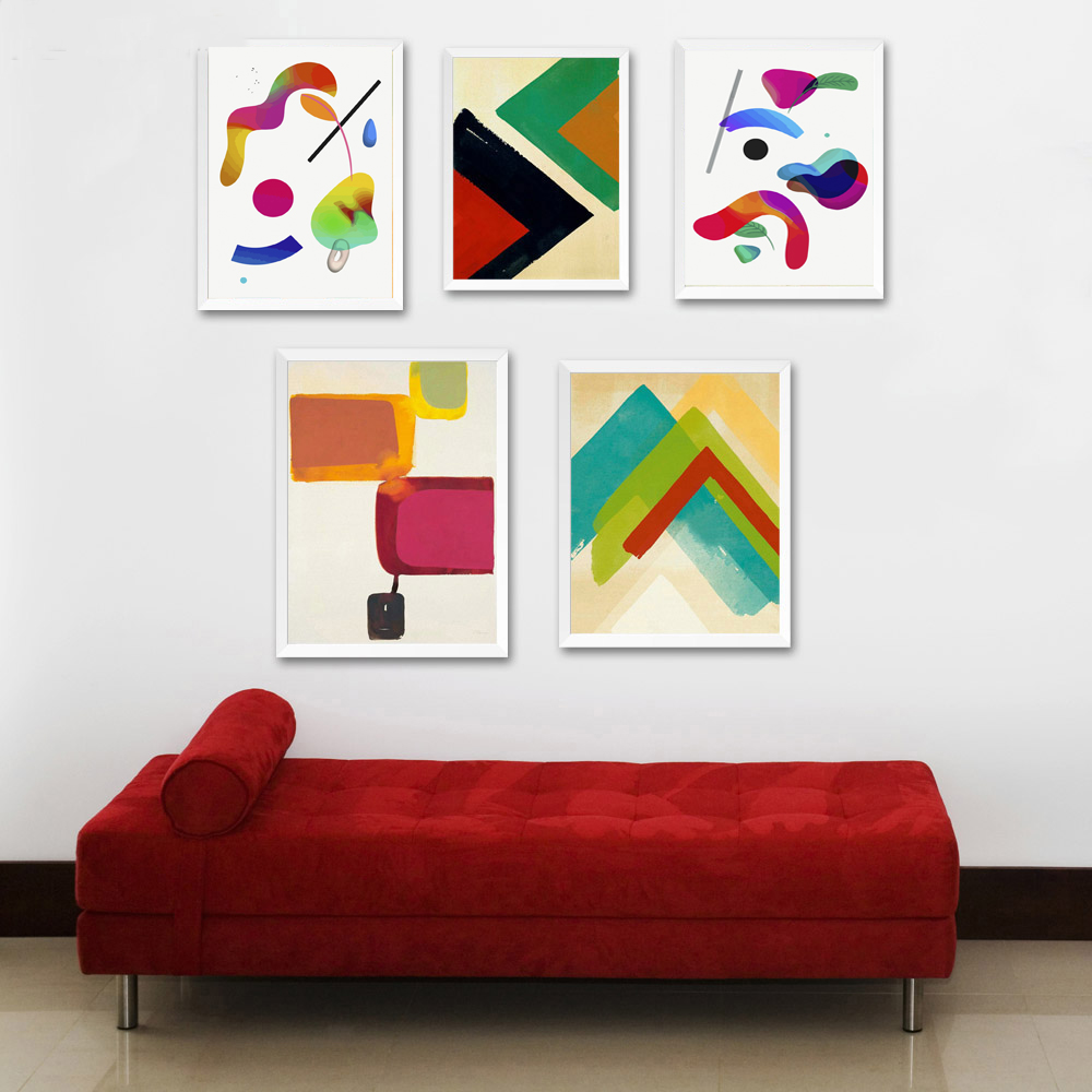 Watercolor Geometry Minimalist Art Canvas Poster Abstract