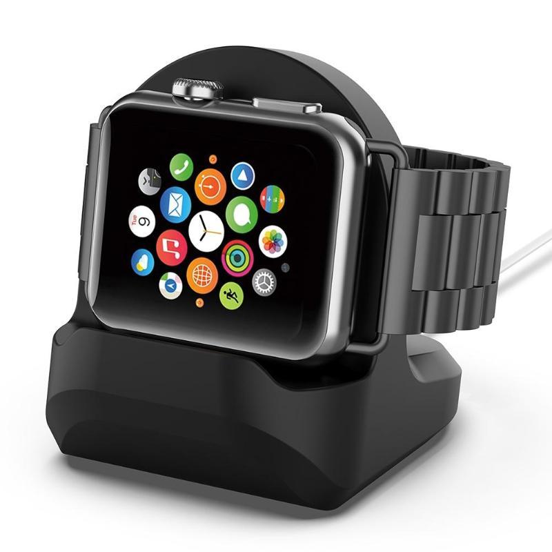 2 couleurs Silicone support de Charge Station Dock pour Apple Watch série 1/2/3 42mm 38mm câble de chargeur pour iWatch