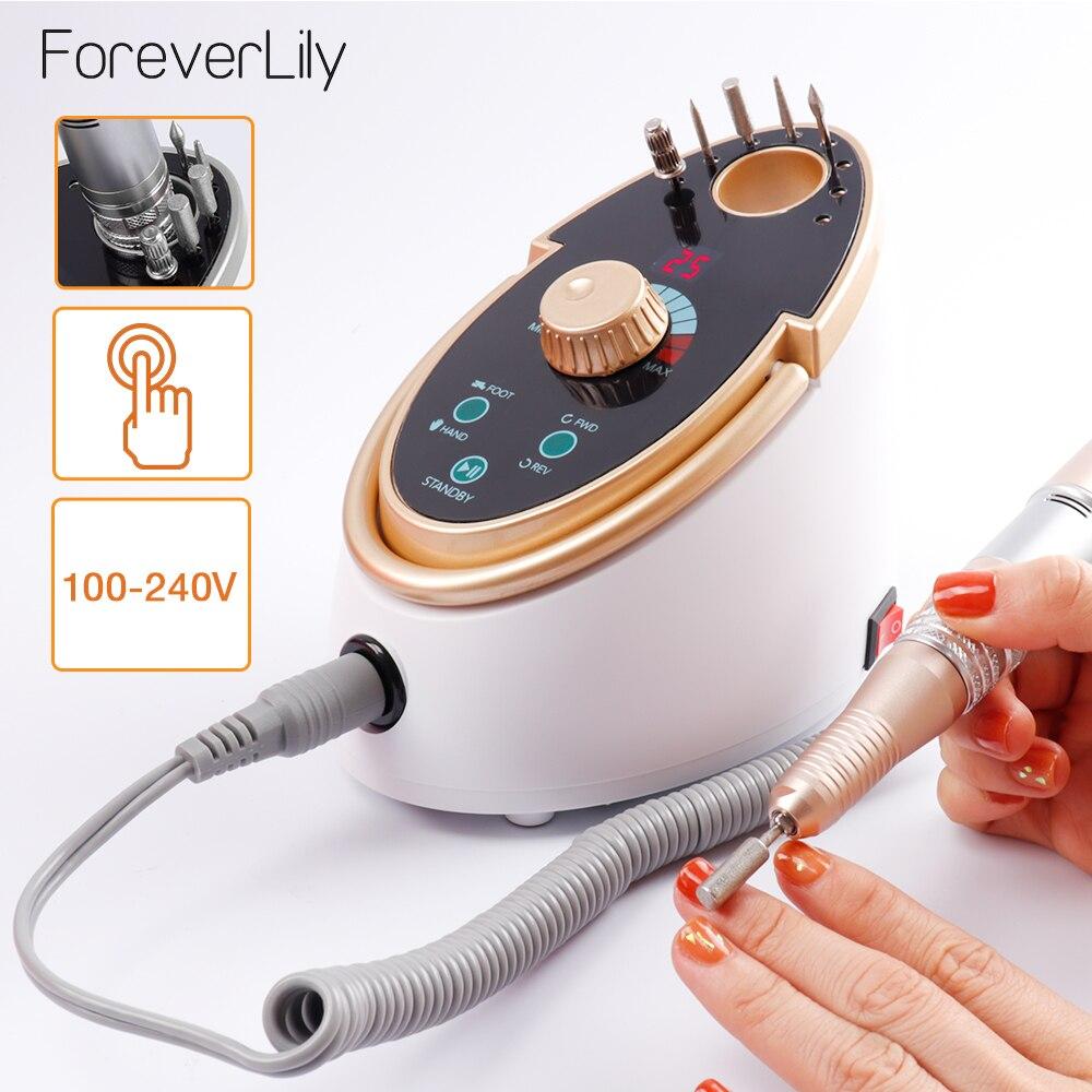 ForeverLily 65 W Máquina Manicure Pedicure Elétrica Prego Broca 35000 RPM Para Nail Art Polonês Gel Com Cerâmica Broca Prego cabeça