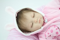 18 Soft Silicone Vinyl Reborn Baby Dolls Sleeping Girl Doll Handmade Lifelike Fashion Baby Gift New
