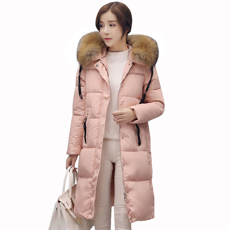 2017 Fashion hooded big Fur Collar Coats Winter Jacket Women Long Down Cotton Parka Winter Coat Women warm slim outerwear QH0654 2017 new women winter jacket long solid color fur hooded slim big size female cotton coat wadded warm parka outerwear ok1006