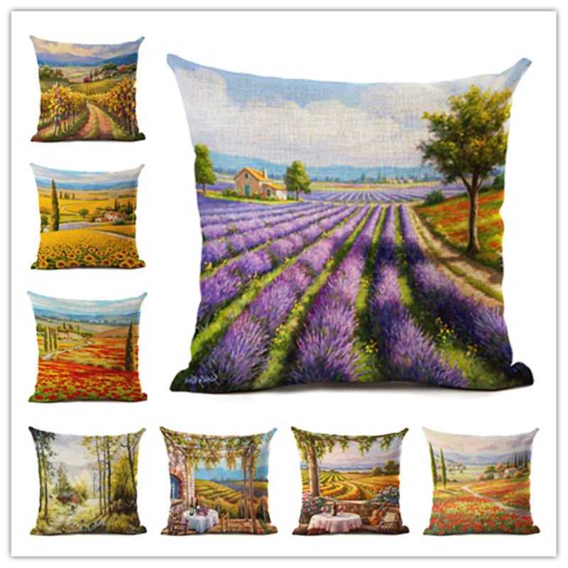 Hot Selling Countryside Scenery Linen Cotton Square Retro Floral Home Decor Throw Pillow Cushion Cover Cojines