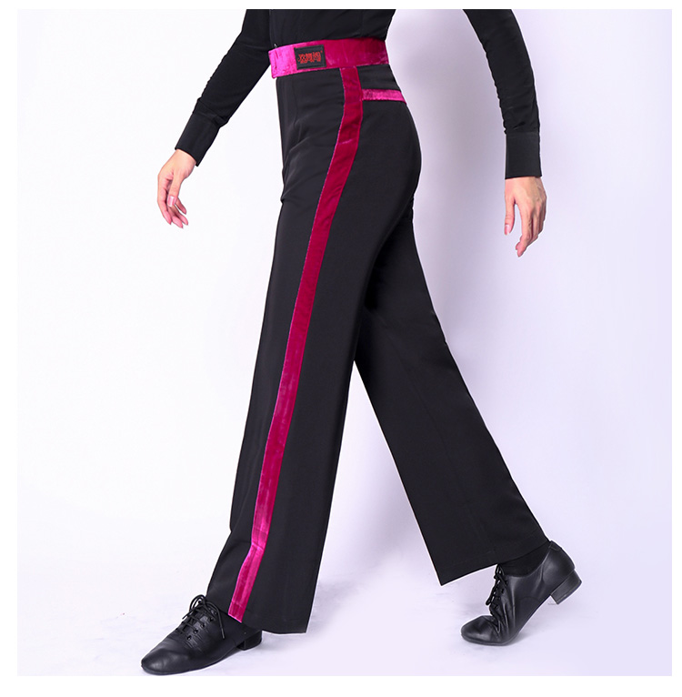 Black Latin Modern Ballroom Performance Trousers Men Latin Dance Pants National Standard Dance Costumnes Latin Pants Plus Size