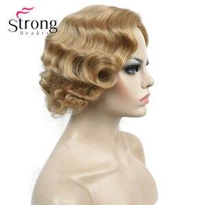 Image 5 - Strong beauty perruque synthétique complète courte ondulée à doigt ondulé Blonde 1920