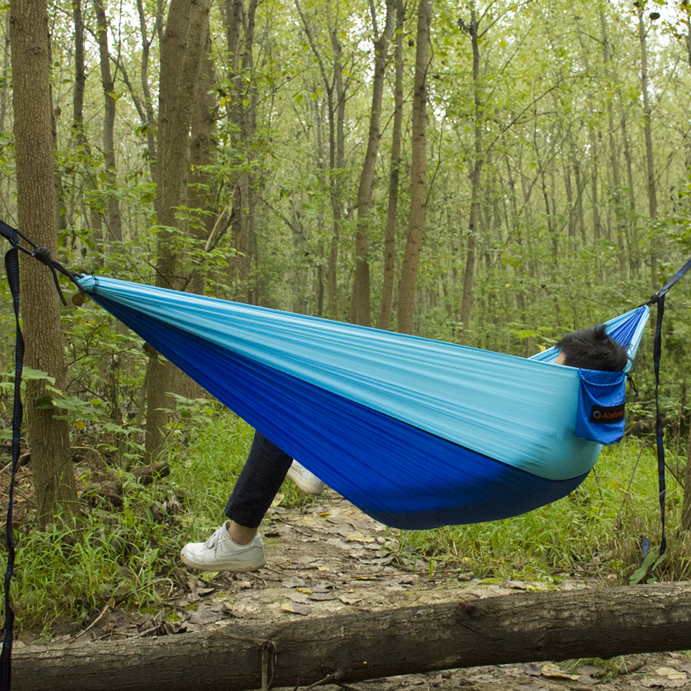 Acehmks Ultralight Sturdy Travel Hanging Hamac Outdoor Camping Hammock Double Person Leisure Furniture Travel Parachute Hammock