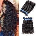 Бразильский Глубокая Волна 4 связки Deep Курчавый Бразильский Вьющиеся Волосы Девственные Бразильские Волосы Ткать Пучки 7а Необработанные Девственные Волосы