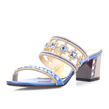 HOT!! 2015 New Women's Rhinestone Square Heel Slides Shoes Fashion Ladies Summer Crystal Sandals Open Toe Shoes AL-108
