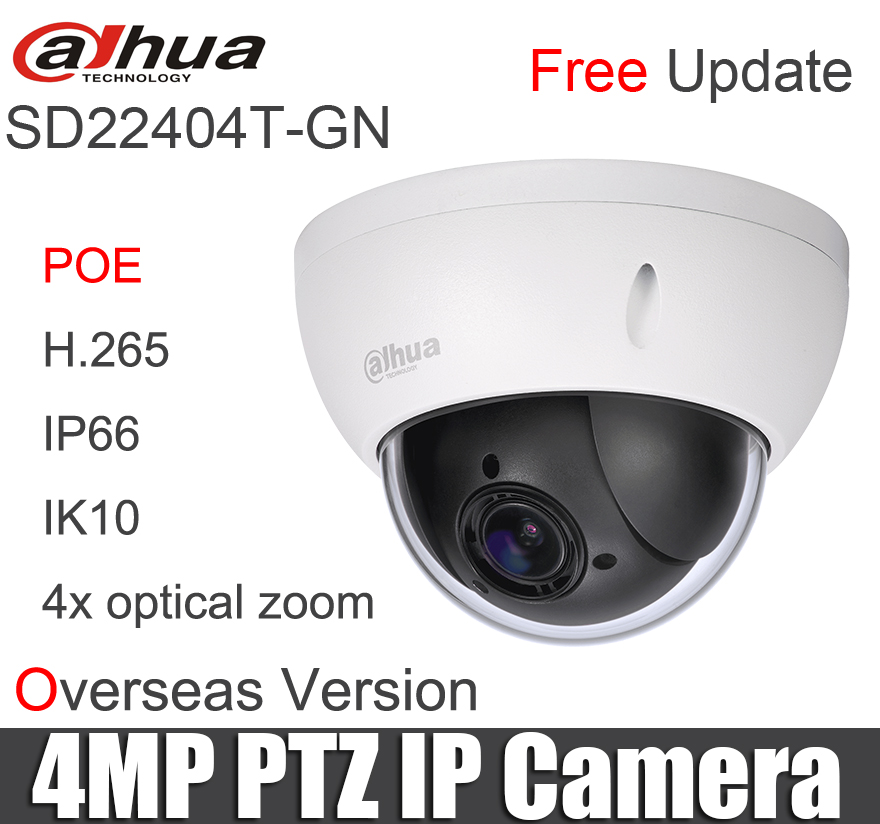 Original SD22404T-GN 4MP PTZ IP Camera 4x Optical Zoom Mini Ptz With Poe H.265 IP66 IK10 IVS DH-SD22404T-GN Security Camera
