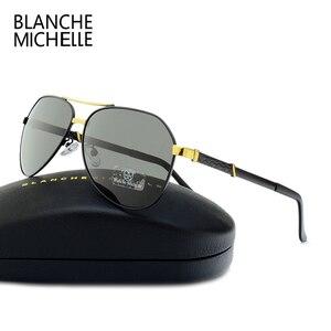 Image 2 - Di alta Qualità Pilot Occhiali Da Sole Polarizzati Uomini UV400 di Guida Occhiali Da Sole Uomo Vintage Occhiali Da Sole Uomo 2020 okulary oculos Con La Scatola Polarized Sunglasses Men