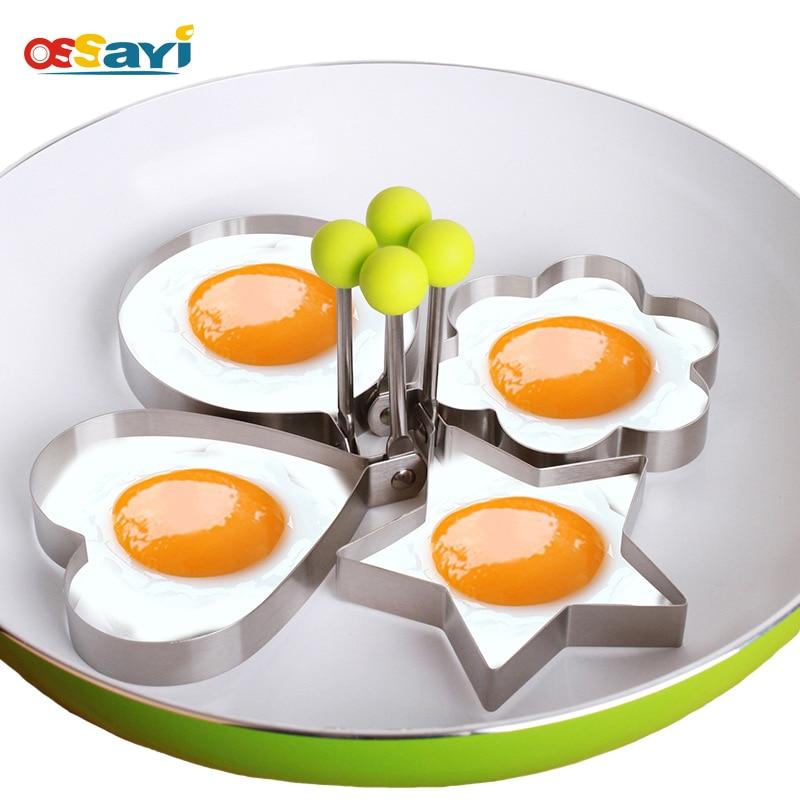 5 스타일 DIY 튀긴 달걀 곰팡이 스테인레스 스틸 스타 꽃 라운드 크리 에이 티브 사랑 하트 조식 튀긴 계란 금형 오믈렛 달걀 도구