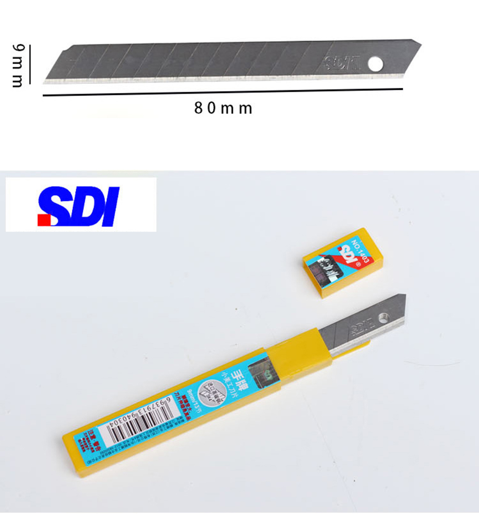 Image 2 - SDI Brand 60 Degree High Carbon Steel Knife Replacement Blade 9mm 10 Blades/Pack SDI 1403-in Car Stickers from Automobiles & Motorcycles