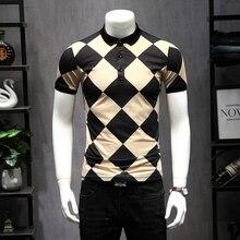 Great Designer Plaid Argyle Polos 2019 New US Polo Shirts For Men Short Sleeve Diamond Patchwork Color Breathable Shirt 5XL 9256