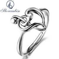 Slovecabin Original 925 en argent Sterling Note anneaux de mariage pour les femmes bijoux de luxe réglable coeur amour musique anneaux femme