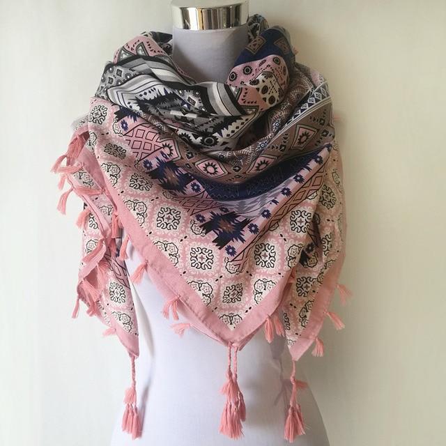 bca3705a075 Hot sale bandana new fashion woman Scarf square scarves Printed Women Wraps  Winter autumn ladies shawl Luxury Brand tassel scarf