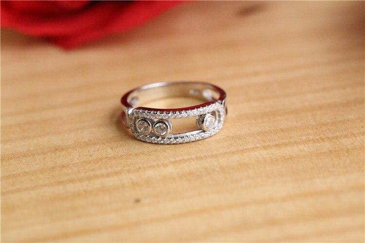 цена на Fashion Designer luxurious Jewelry AAA Cubic Zirconia 925 Sterling Silver move Ring wedding ring moving gems women no logo