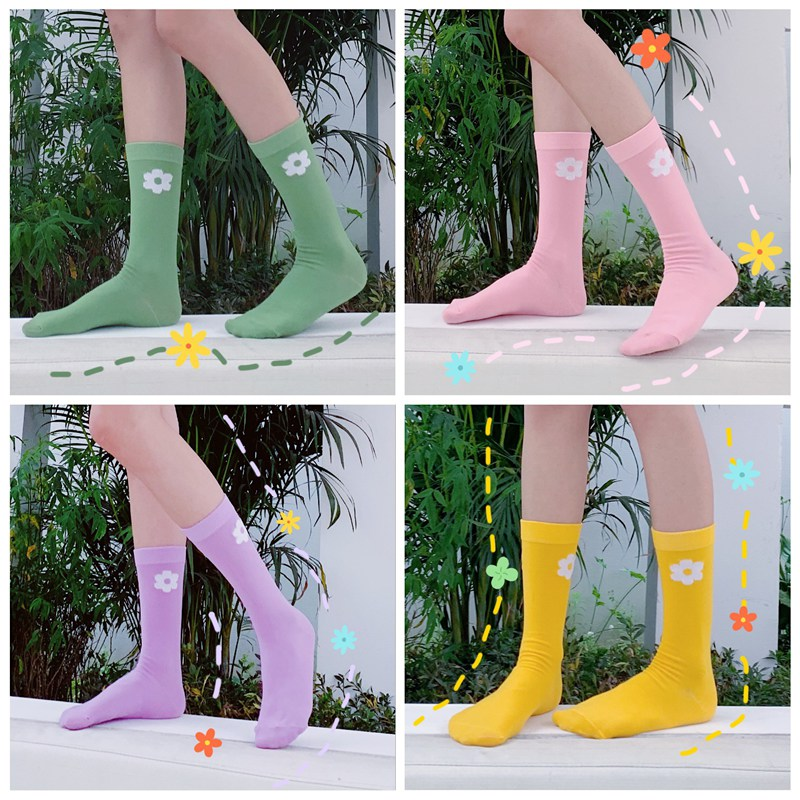SP CITY 3Pairs Set Ins Women Floral Patterned Socks Solid Online Star Hipster Casual Japan Style Cotton Socks Fashion Flower Sox in Socks from Underwear Sleepwears