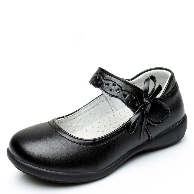 Niños shoes for girls shoes kids fashion negro solo shoes cuero genuino estudiante de cuero escuela de primavera/otoño solo shoes