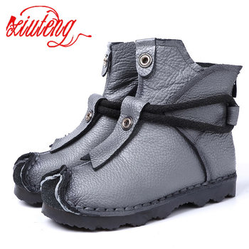 Xiuteng New Genuine Leather High Quality Ankle Boots Fashion Women's Boots New Short Boot Winter Purple Gray Flats Boots Women