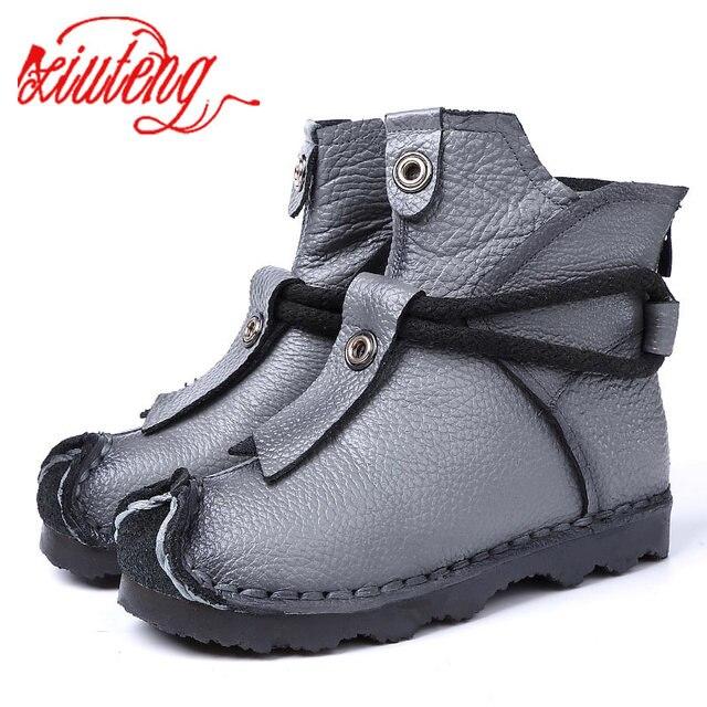 Xiuteng Neue Echtem Leder Hohe Qualität Knöchel Stiefel Mode frauen Stiefel Neue Kurze Boot-Winter Lila Grau Wohnungen Stiefel frauen