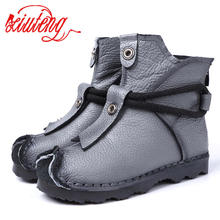Xiuteng New Genuine Leather High Quality Ankle Boots Fashion Women's Boots New Short Boot Winter Purple Gray Flats Boots Women(China)