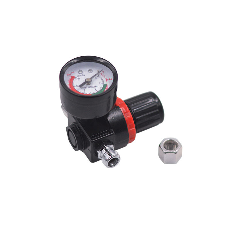 The lowest Price 7mm Metal Plastic Black Air Pressure Regulator Gauge Regulator Pressure Regulating Valve For Spray Gun Durable