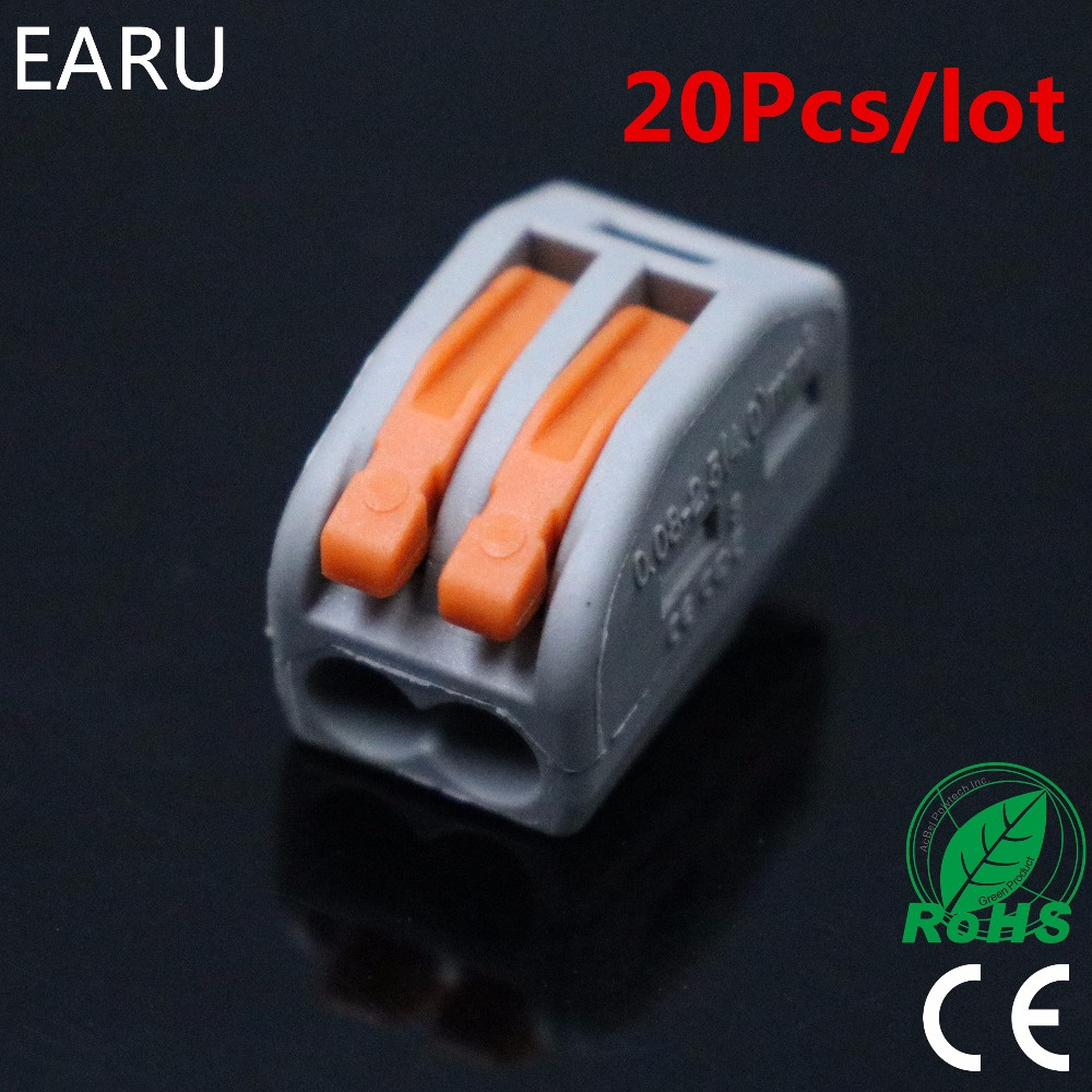 (20pcs/lot) WAGO 222-412 PCT-212 PCT212 Universal Compact Wire Wiring Connector 2 pin Conductor Terminal Block Lever 0.08-2.5mm2 led 10 pcs wago pct212 2 pin conductor wiring connector universal compact wire terminal block with lever awg 28 12