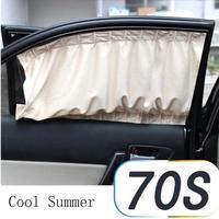 Car Styling AUTO 2X Car Sun Shade Side Nylon Mesh Window Curtain Foldable Sunshade UV Protection