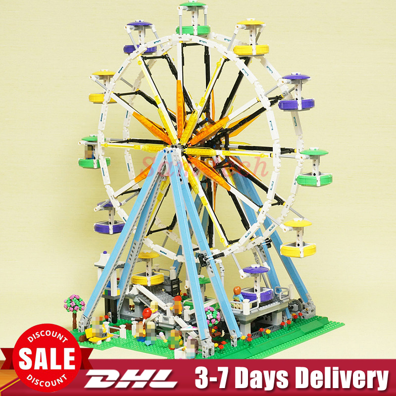 2018 In Stock Lepin 15012 City Street Ferris Wheel Model Building Kits Set Assembling Blocks Toy Compatible 10247 Birthday Toys a toy a dream lepin 15008 2462pcs city street creator green grocer model building kits blocks bricks compatible 10185