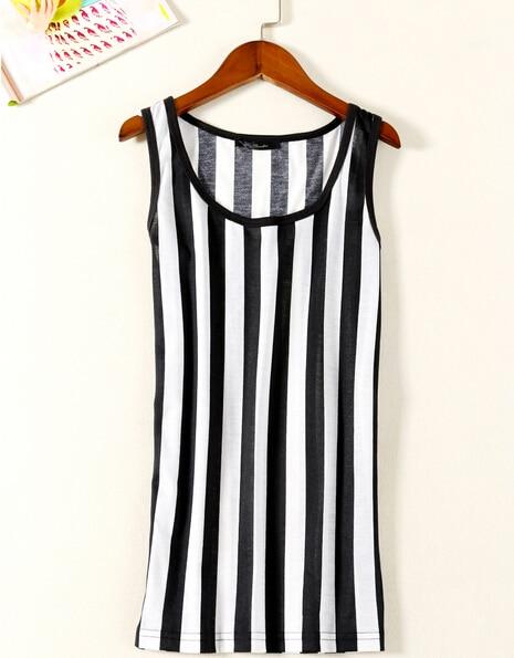 25fd081c934 New black white stripe top Vertical Zebra Stripe Tank Top Vest women clothing  plus size Free shipping D864