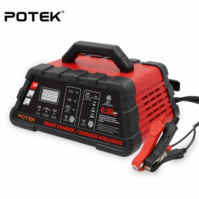 Potek 2 6 10 Amp Smart Battery Charger And Maintainer With