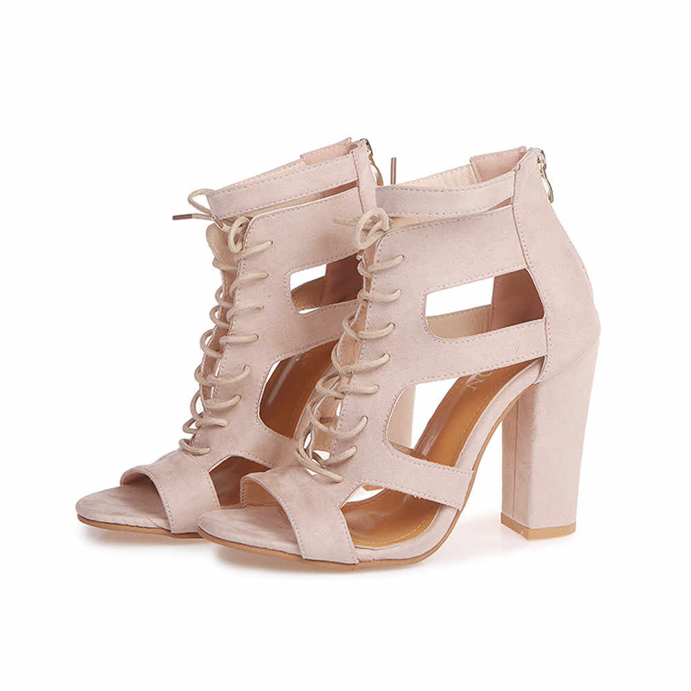 e4e5fe16aca Women Sandals Gladiator High Heels Strap Pumps Lace-up Female Shoes Fashion Summer  Ladies Scrub