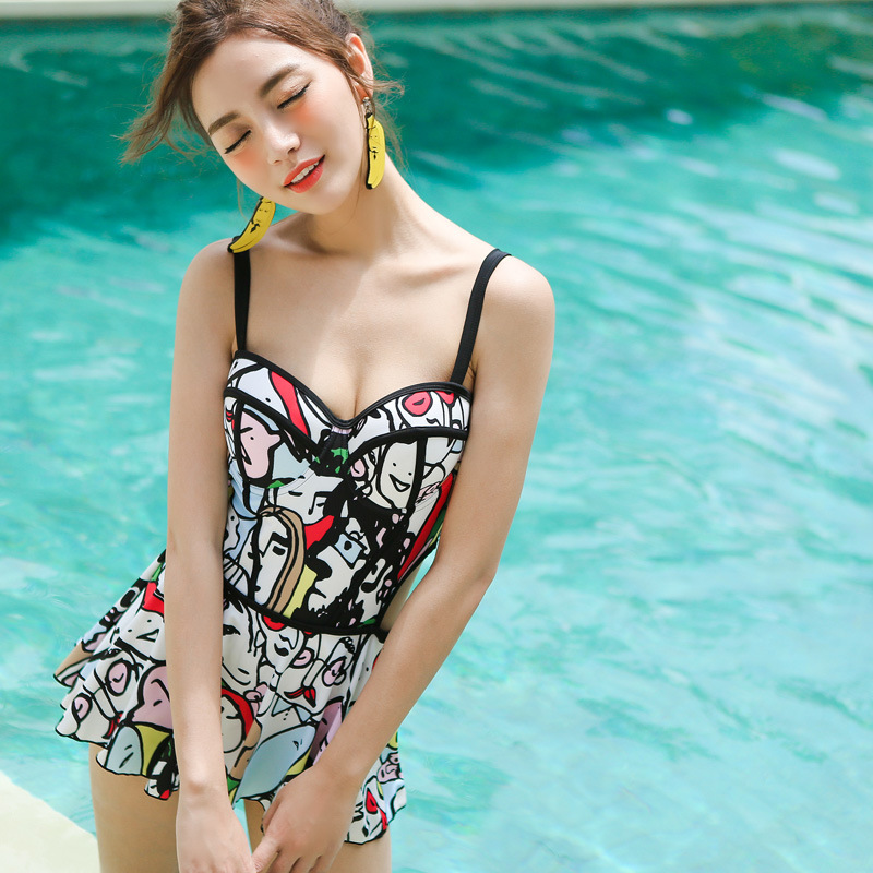 Swimming Suit For Women Swimwear 2017 Bikini Girl Woman Push Up One Piece Swimsuit New Sexy Underwire Skirt 71234 Maillot De brief candy color lace up one piece swimwear for women