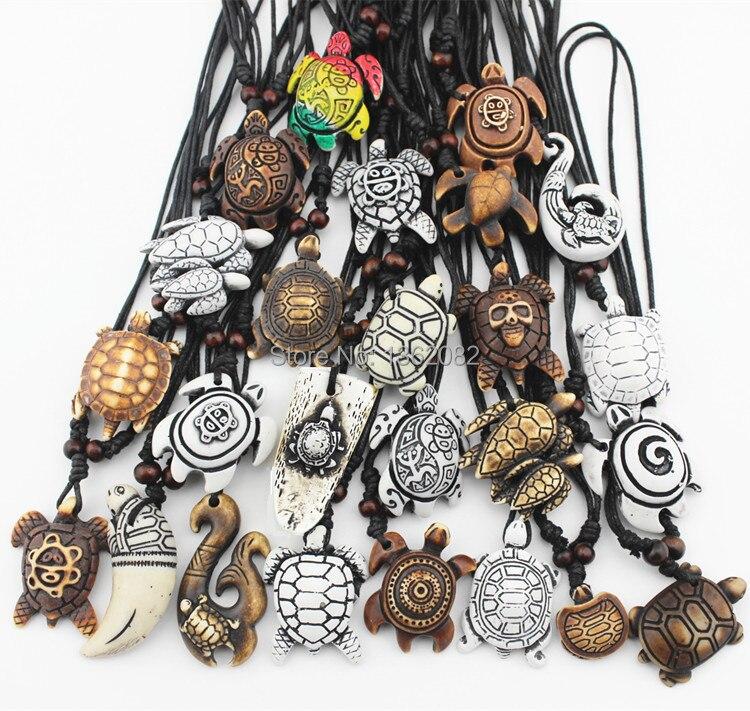 Prix pour Mixte bijoux gros Lots 25 PCS Imitation Yak os sculpté chanceux surf tortues de mer pendentifs collier MN386