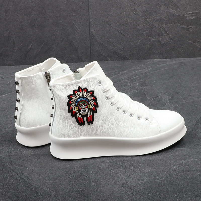 Cheville Microfibre Bottes Amérique Casual Drop Marque Luxe Chaussures De Shipping Blanc High Top Stephoes Rivets Hommes Mode MGVSUpLqz