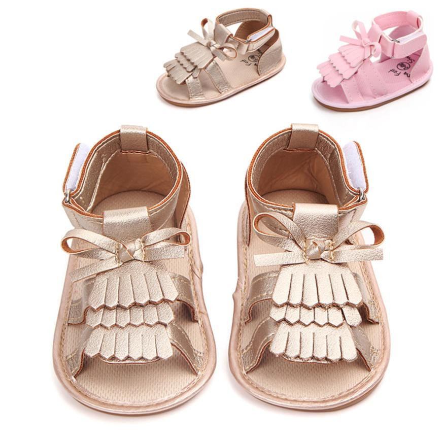 PU Newborn Baby Boy Girl Toddle Baby Girls Shoes Bow Tassel Crib Fringe Soft Soled Non-slip Summer Shoes Footwear Crib Shoes