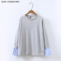XUANCHURANWEN Hot Sale Women Cotton Sweatshirts Long Sleeve Patchwork Hoodies Loose Casual Autumn Ladies Pullover XZ1345